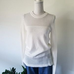 TopShop White Fishnet Mesh Eyelet Sexy Sweater 6